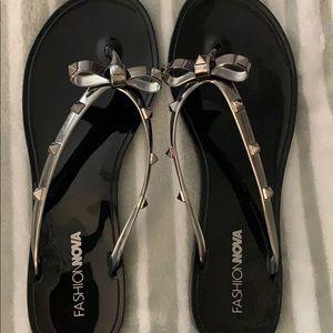 Fashion Nova Studded Bow Sandal.